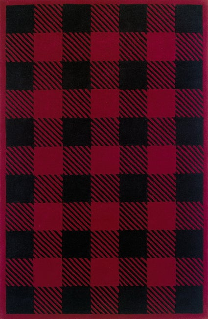 Shop Signature Buffalo Red Black Check Wool Rug 3 6 X 5