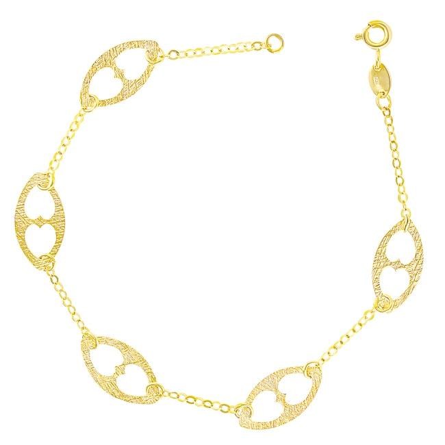14k Yellow Gold Textured Mariner Link Bracelet