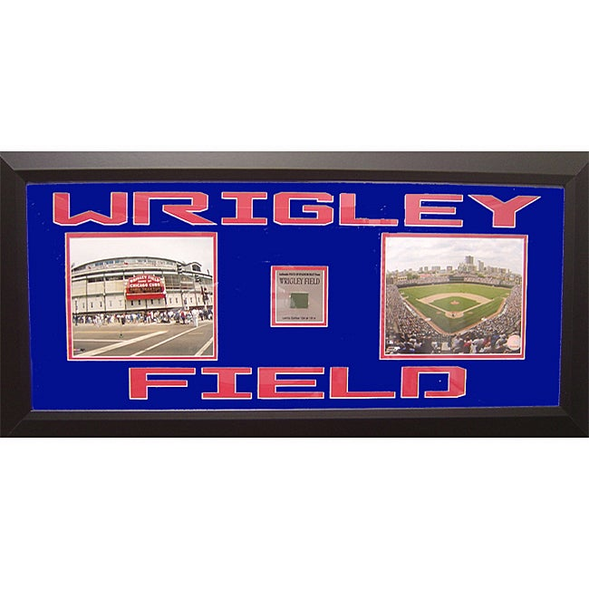 Wrigley Field Framed Photo w/ Piece of Stadium Seat