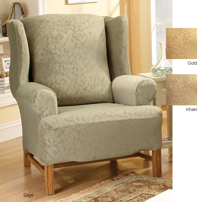Stretch Scroll Wing Chair Slipcover Free Shipping Today