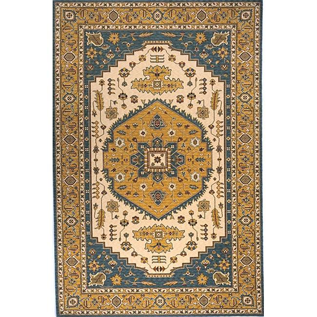 Momeni Persian Garden Teal Blue NZ Wool Rug (5' X 8')