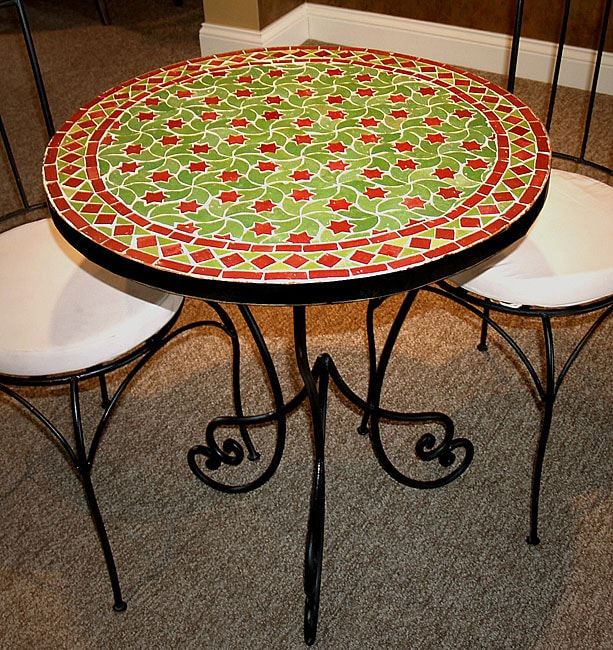 Folding patio chairs - Handmade Mediterranean Round Mosaic Table Morocco Free Shipping