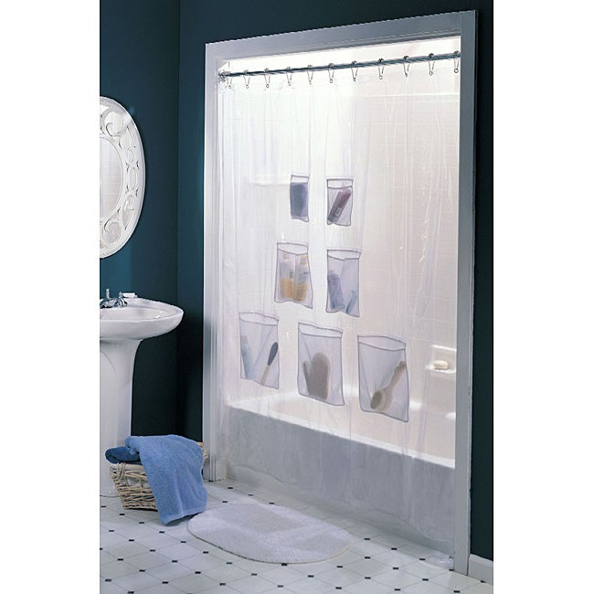 Vinyl with Mesh Pockets Shower Curtain