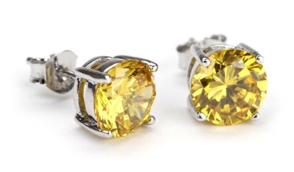 Simon Frank 14k White Gold Overlay Canary Diamoness Earrings