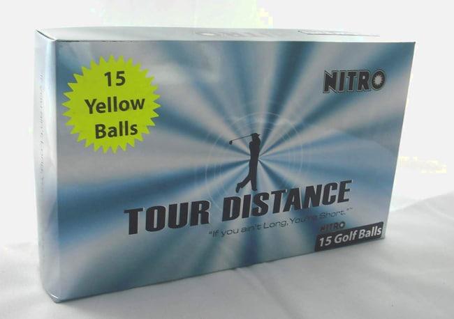 Nitro Tour Distance Yellow Golf Balls (Pack of 15)