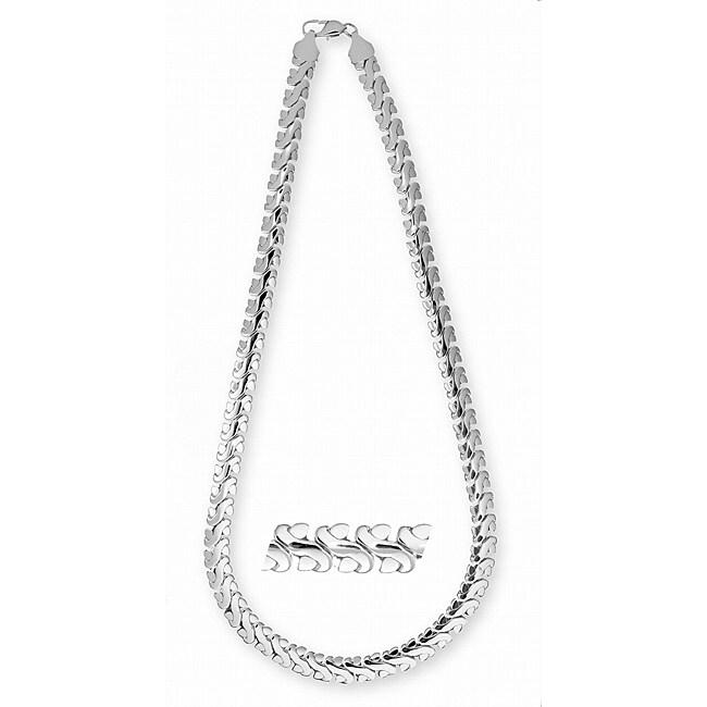 Simon Frank 14k White Gold Overlay 24-inch Fancy S-link Chain