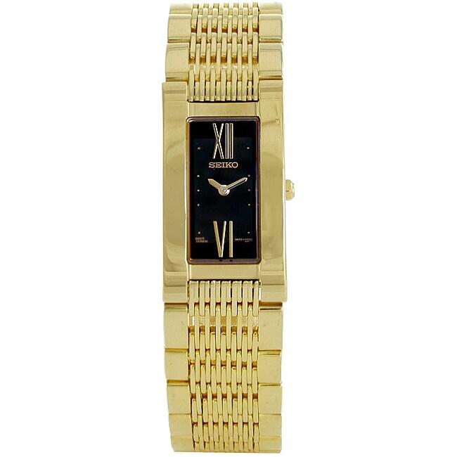 Seiko Women's Black Dial Gold Tone Watch