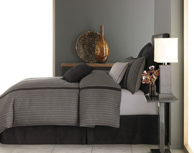 Grey Pinstripe Duvet Cover Set