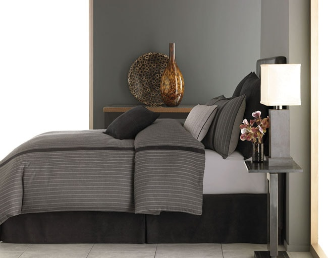 Grey Pinnstripe Black Faux Suede Bed Skirt Free Shipping