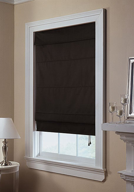 Shop Black Twill Roman Shade 27 In X 72 In Free Shipping On