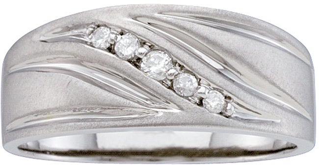 Unending Love Stainless Steel Men's 1/10ct TDW Diamond Band (H-I, I2-3) - Thumbnail 0
