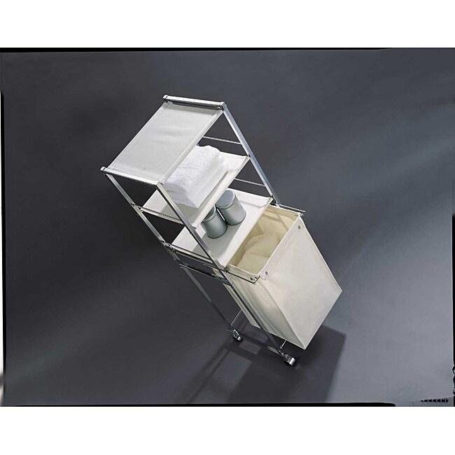 3-shelf Laundry Valet with Canvas Hamper