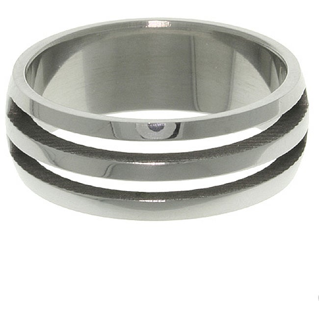 Carolina Glamour Collection Stainless Steel Two-line Laser-cut Ring