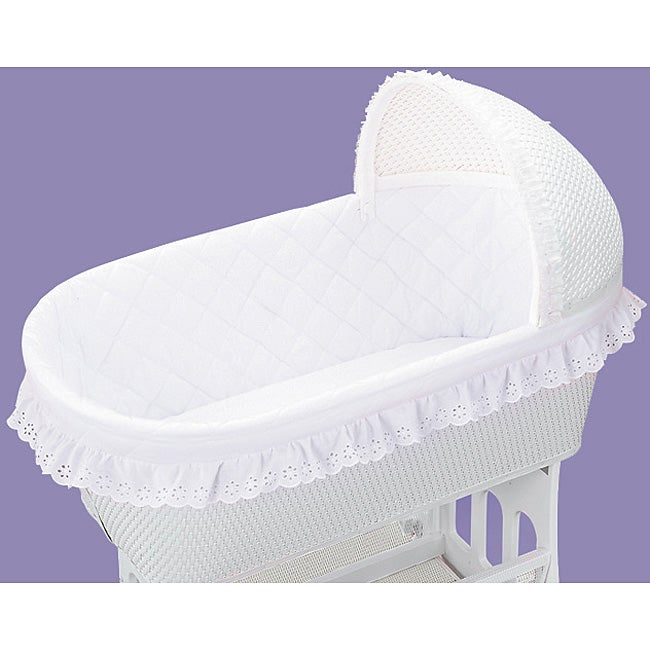 Standard White Batiste Short Bassinet Liner And Sheet