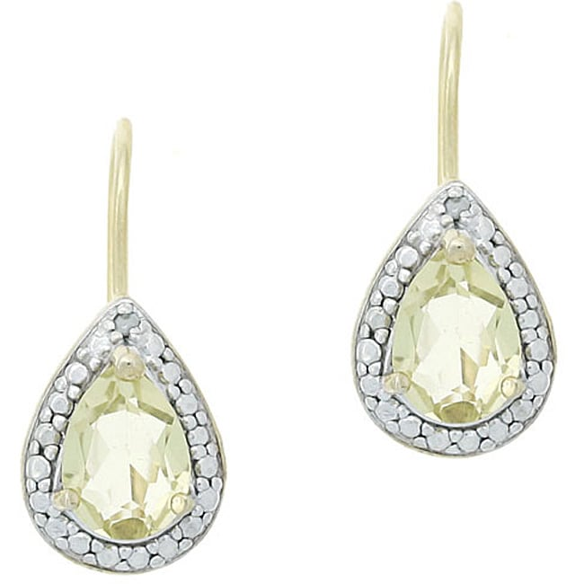 Glitzy Rocks 18k Gold/ Silver Diamond-accented Lime Quartz Earrings