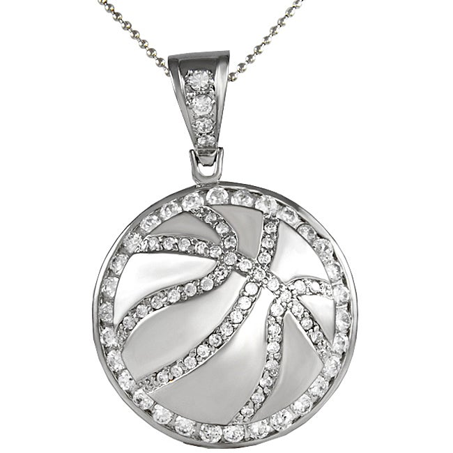 Shop Sterling Silver Cubic Zirconia Basketball Necklace - Free Shipping  Today - Overstock - 3174755 22a4a05b9c2f