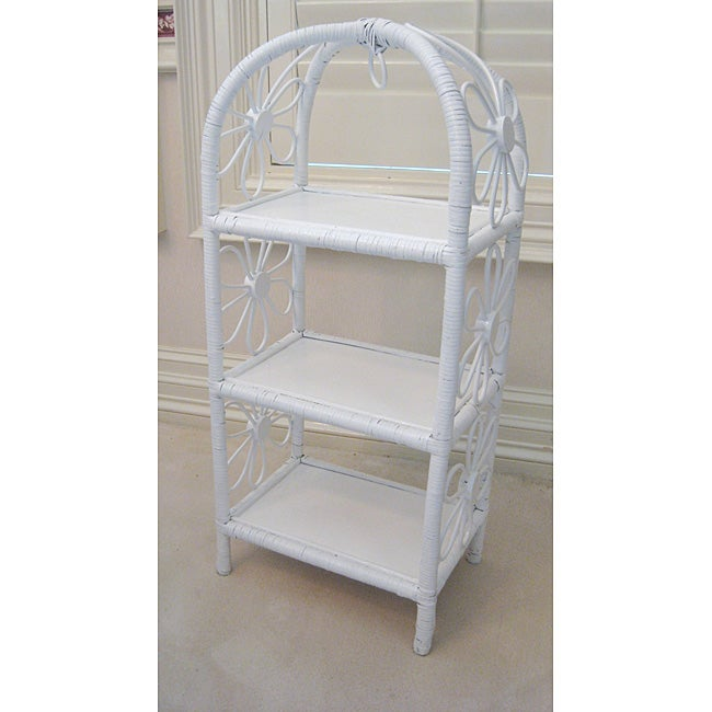 White Wicker Small 3-tier Shelf