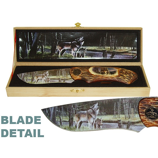 Wild Wolf Folding Knife in Wooden Gift Box