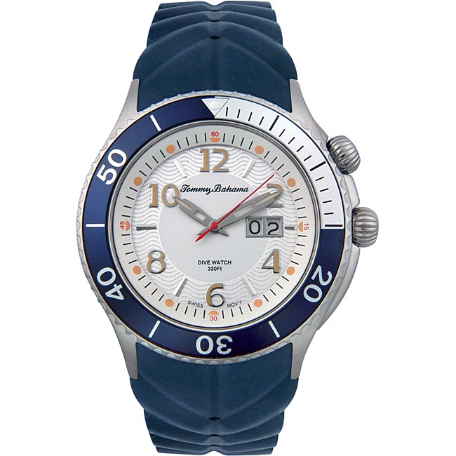 Tommy Bahama Men S Blue Dive Rubber Watch Free Shipping