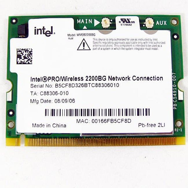 Shop intel pro wm3b2200bg minipci network card (oem) free.