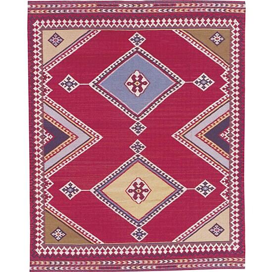 Nourison Hand-woven Mongol Kilim Red Rug (5'6 x 8'6)