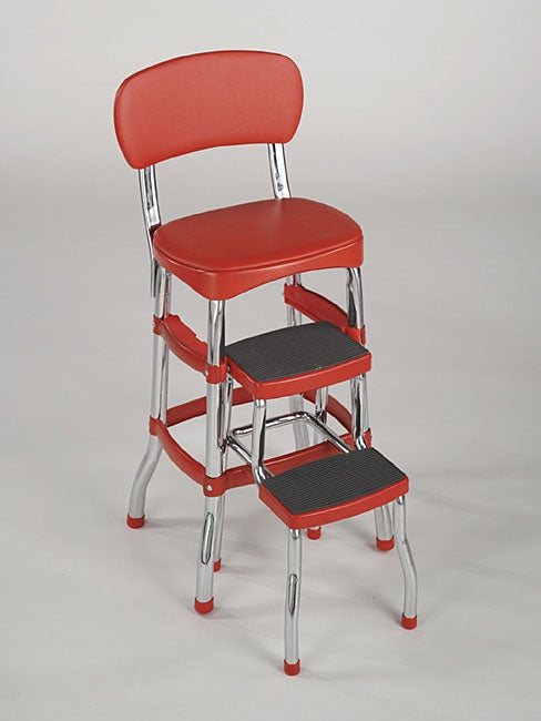 Assembled Red Retro Chair Step Stool Free Shipping