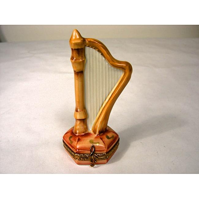 Limoges Hand-painted Harp Keepsake Box