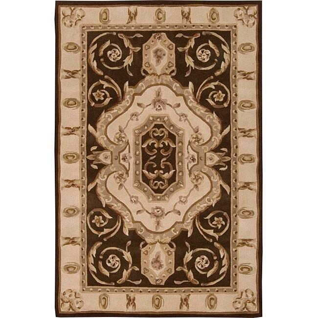 Nourison Hand-tufted Brilliante Brown Wool Rug (4'9 x 7'6)
