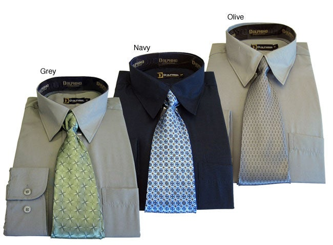 Dolphino Men's Dress Shirt and Tie Gift Set