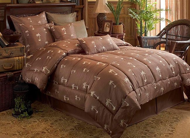 Palm Tree Embroided 4-piece Comforter Set