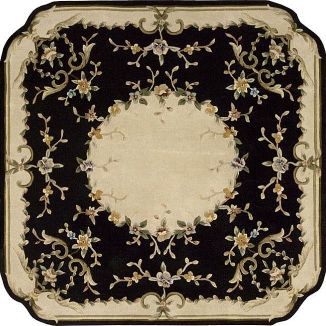 9x12 New Nourison Nourmak Hand Knotted Wool Reversible: Shop Nourison Hand-tufted Black Floral Wool Rug (7'3 X 7'3