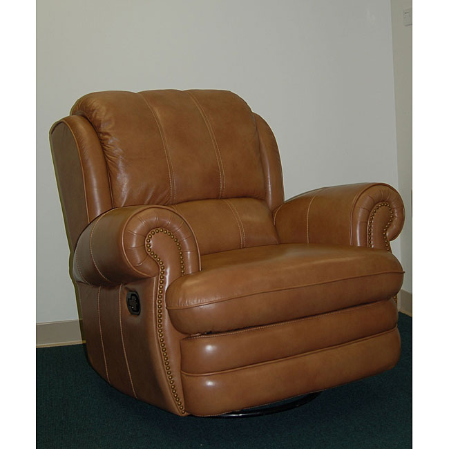 Willford Camel Leather Swivel Rocker Recliner Free