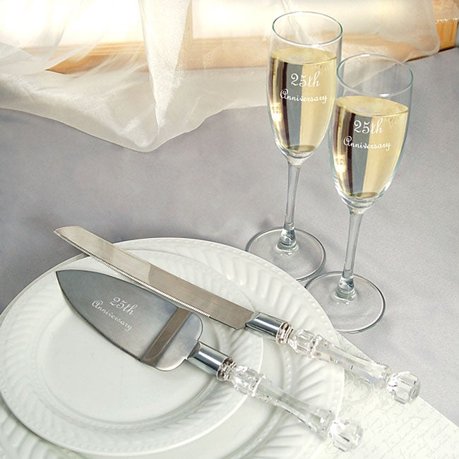 25th wedding anniversary flutes and cake server set free shipping today 11363822. Black Bedroom Furniture Sets. Home Design Ideas