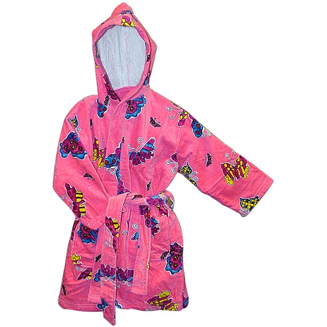 Hot Pink Butterfly Children's Robe (Set of Two)