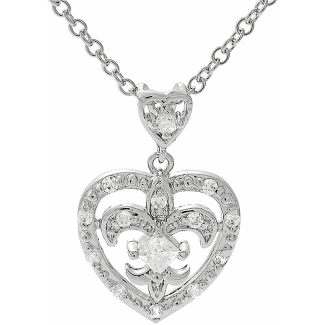 Journee Sterling Silver Heart with Fleur de Lis Necklace