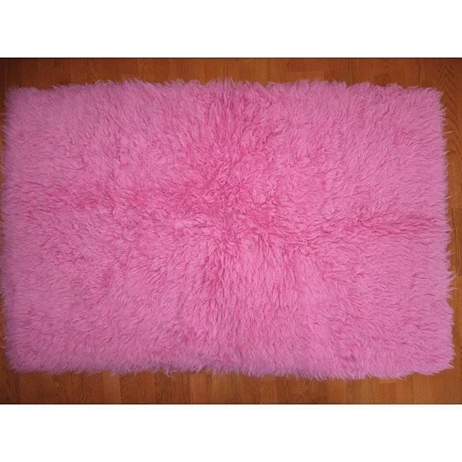 Premium Flokati Pink Wool Rug (5' X 8')