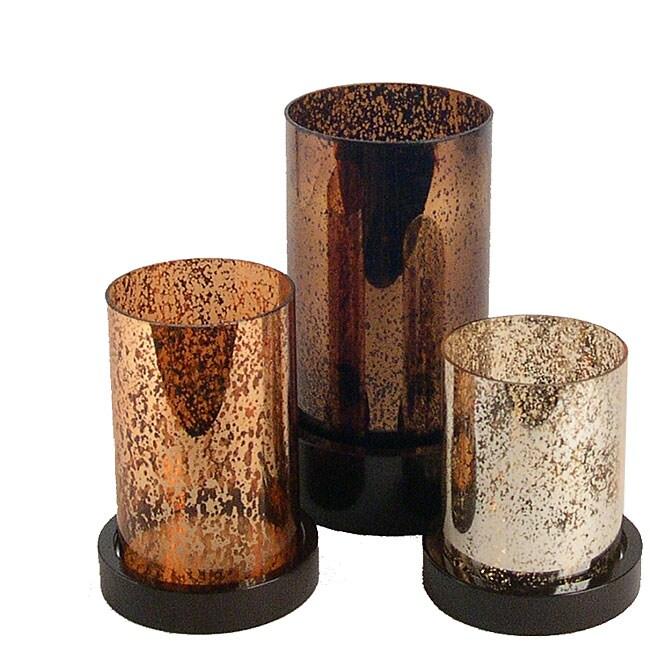 Glass Hurricane Pillar Candle Holders (Set of 3)