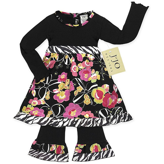 Sweet Jojo Designs 2-piece Black/ Pink Infant Girl Outfit