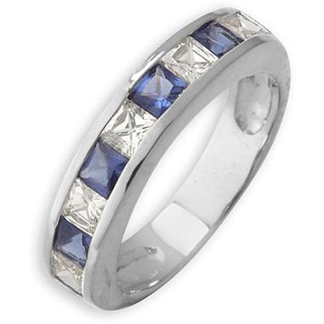 Simon Frank 14k Gold Overlay Blue and White Diamoness Ring