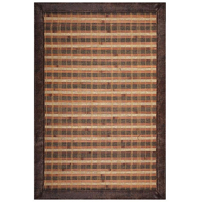 Hand-woven Rust Rayon from Bamboo Rug (6' x 9')