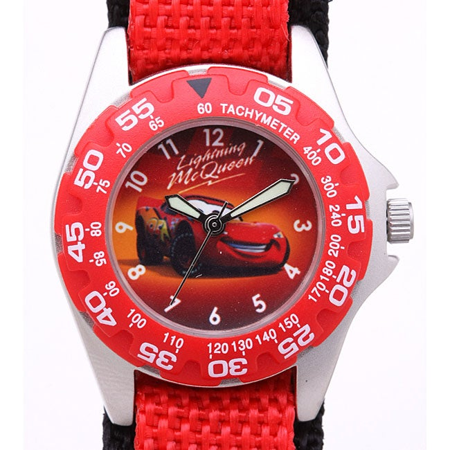 Disney racing car lightning mcqueen boys watch free shipping on orders over 45 overstock for Mcqueen watches