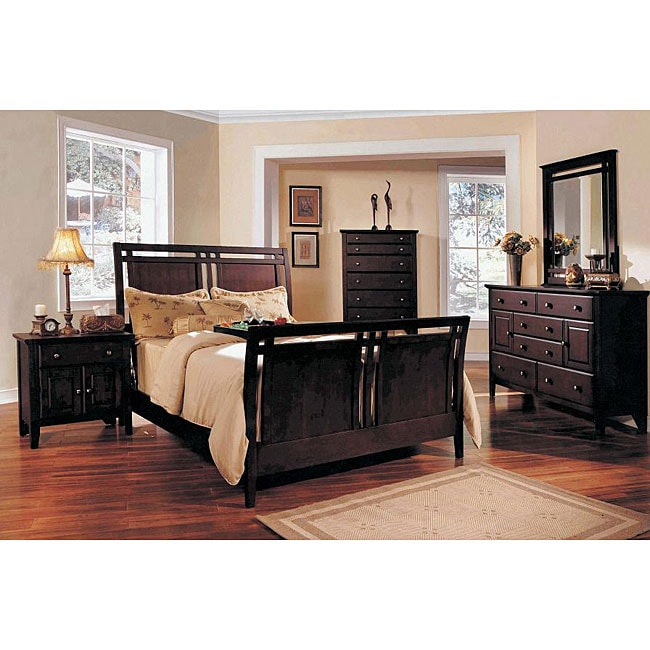 Shop marcell espresso 5 piece queen sleigh bedroom set free shipping today for 5 piece queen sleigh bedroom set