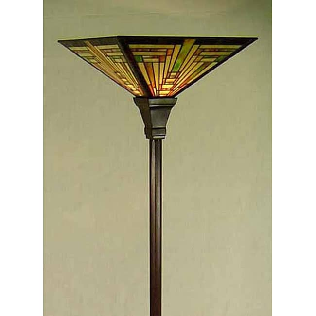 Tiffany Style Mission Torchiere Floor Lamp
