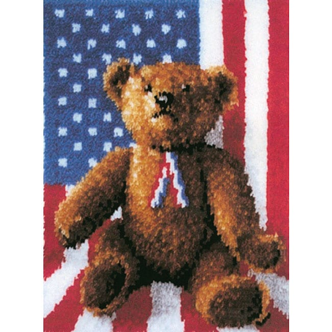 Wonderart American Bear Latch Hook Needlework Kit