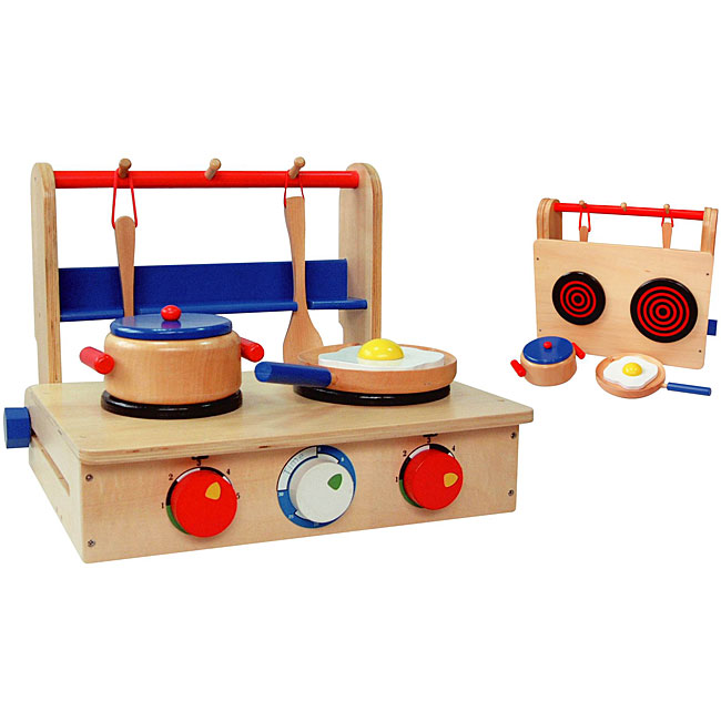 Wooden portable play kitchen and pan set free shipping for Kitchen set portable