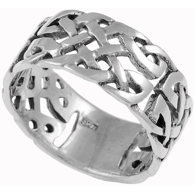 Journee Collection Sterling Silver Woven Celtic Band