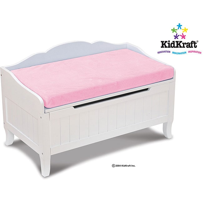 Davenport White Toy Chest With Pink Cushion Free