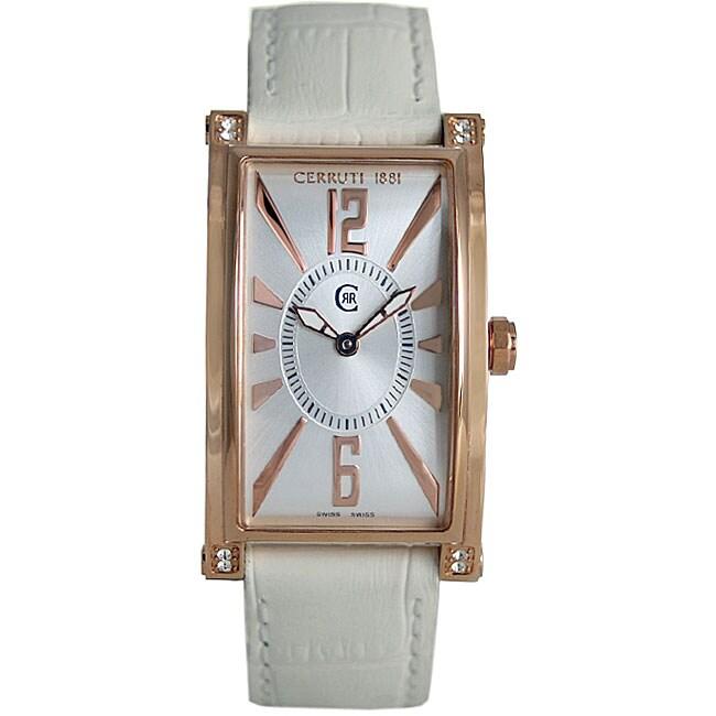 ff9171e7fa Shop Cerruti 1881 Women's White Croco Strap Watch - Free Shipping Today -  Overstock - 3342831
