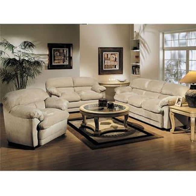 Bella Khaki Microfiber Sofa Set