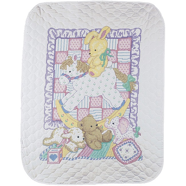 Rocking Horse Baby Stamped Cross Stitch Quilt Kit